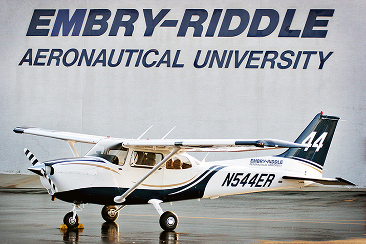 airplane in front of ERAU sign